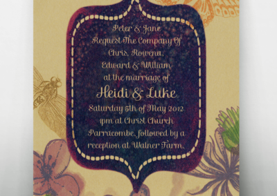 Bespoke Wedding Invitation Design Devon